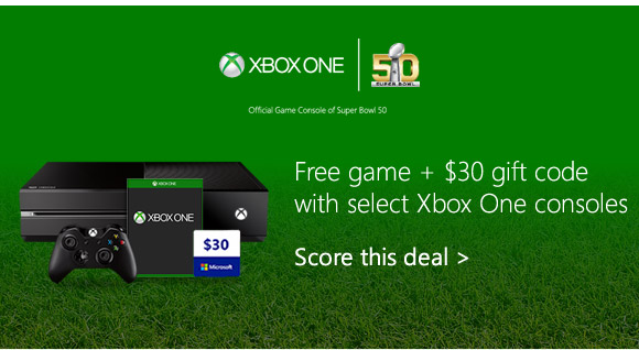 Free game + $30 gift code with select Xbox One consoles