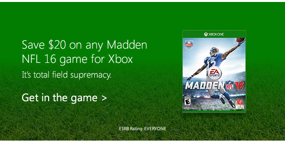 Save $20 on any Madden NFL 16 game for Xbox