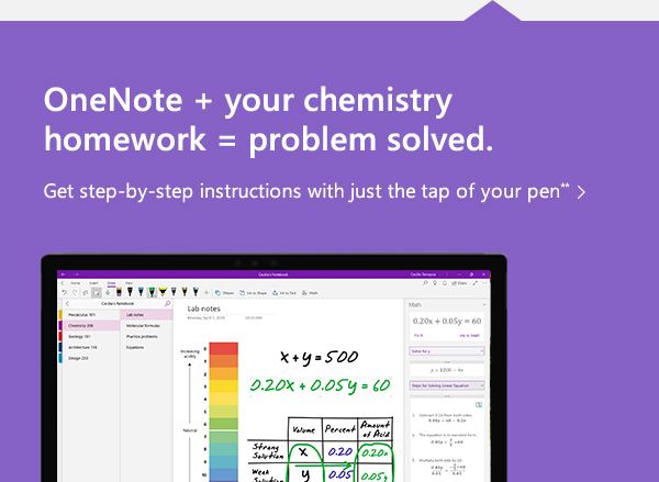 One Note + your chemistry homework = problem solved. Get step by step instructions with just the tap of your pen.
